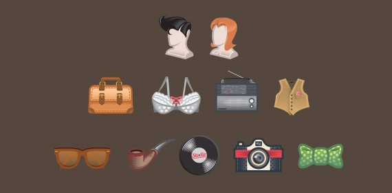 Free Vector Vintage Icon Set.